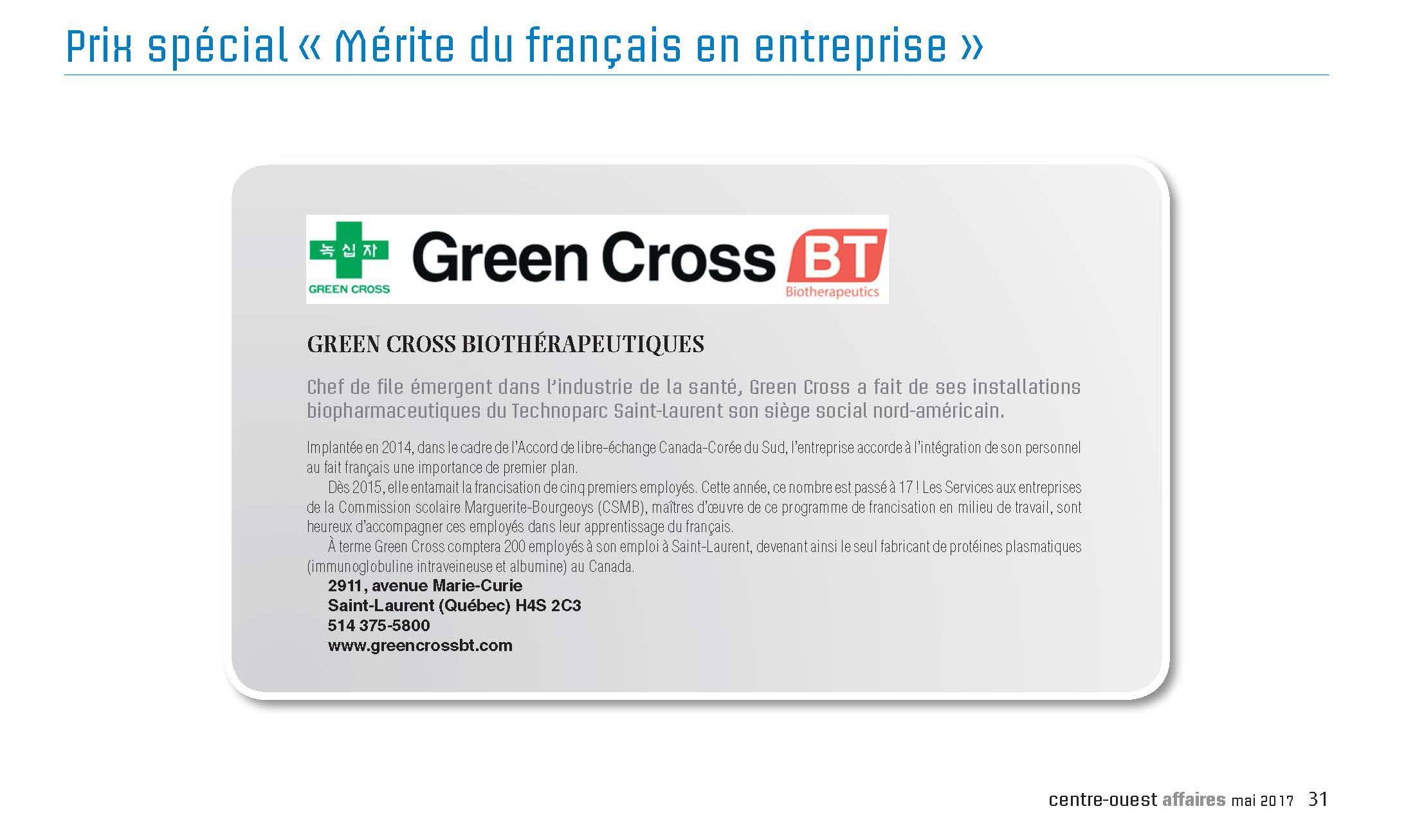 Prix spécial «Mérite du français en entreprise»