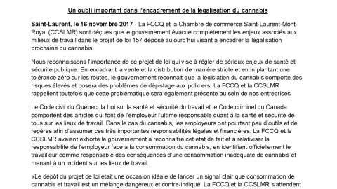 Communiqué : La législation du Cannabis