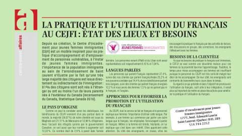 La pratique et l'utilisation du français au CEJFI: État des lieux et besoins